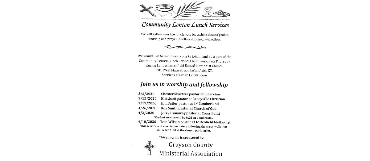 Community Lenten Lunch Services